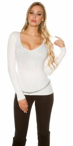 Dámsky ,,party,, kamienkový sveter | Biela