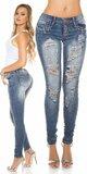 KouCla dámske džínsy s kamienkami a rozparkami Modrá