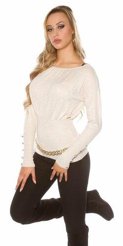 Dámsky štýlový sveter s veľkými gombíkmi na rukávoch