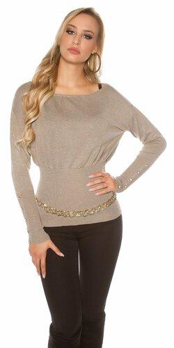 Dámsky štýlový sveter s veľkými gombíkmi na rukávoch   Cappuccino