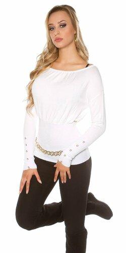 Dámsky štýlový sveter s veľkými gombíkmi na rukávoch | Biela