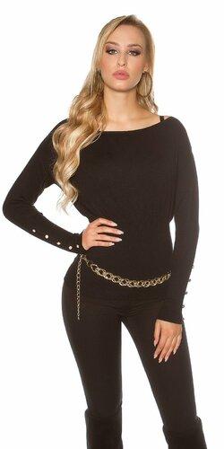 Dámsky štýlový sveter s veľkými gombíkmi na rukávoch | Čierna