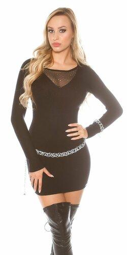 Úpletové šaty s kamienkovým výstrihom Čierna