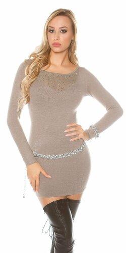 Úpletové šaty s kamienkovým výstrihom | Cappuccino