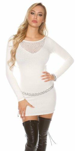 Úpletové šaty s kamienkovým výstrihom | Biela