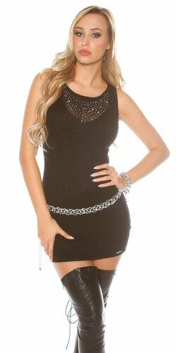 Pletené mini šaty bez rukávov | Čierna