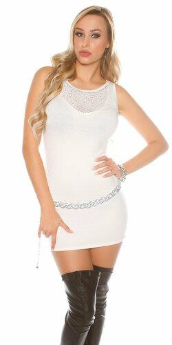 Pletené mini šaty bez rukávov | Biela