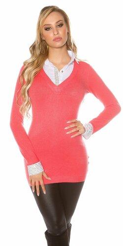 Značkový dlhý sveter 2v1 | Koralová