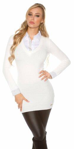 Značkový dlhý sveter 2v1 | Biela