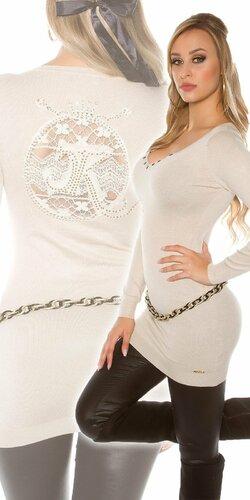 Dlhý dámsky sveter s logom | Béžová