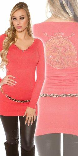 Dlhý dámsky sveter s logom | Koralová