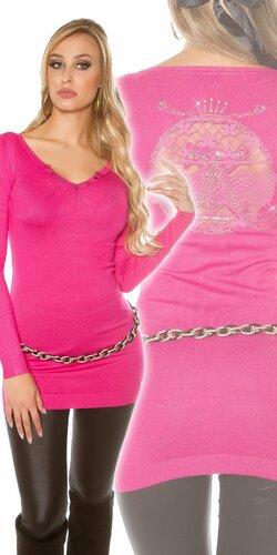 Dlhý dámsky sveter s logom | Ružová
