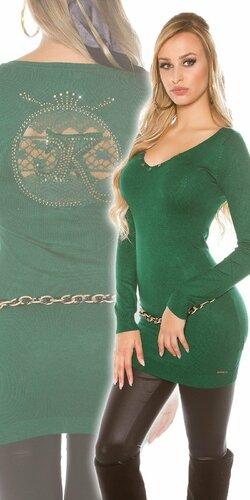 Dlhý dámsky sveter s logom | Zelená
