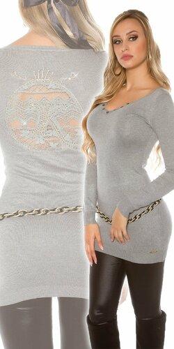 Dlhý dámsky sveter s logom | Šedá