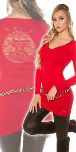 Dlhý dámsky sveter s logom | Červená