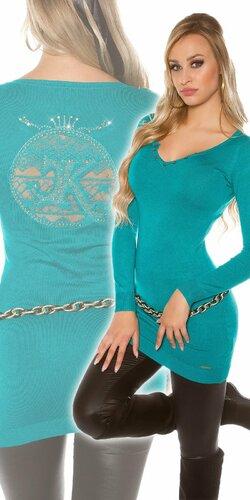 Dlhý dámsky sveter s logom | Zafírová