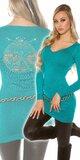Dlhý dámsky sveter s logom Zafírová