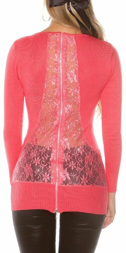 Dámsky sveter s kvetinovou čipkou | Koralová