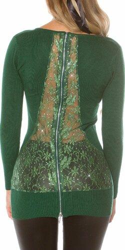 Dámsky sveter s kvetinovou čipkou | Zelená