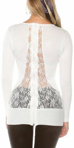 Dámsky sveter s kvetinovou čipkou | Biela