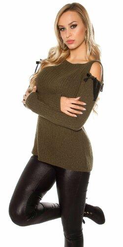 Luxusný svetrík s angorskou vlnou | Khaki