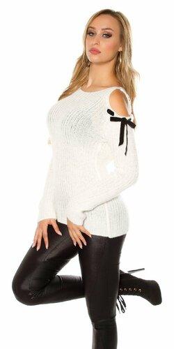 Luxusný svetrík s angorskou vlnou | Biela