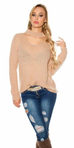 Pletený sveter s angorskou vlnou | Bledá ružová