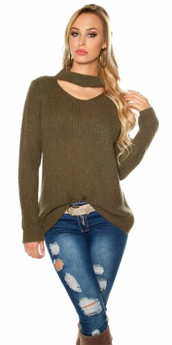 Pletený sveter s angorskou vlnou | Khaki