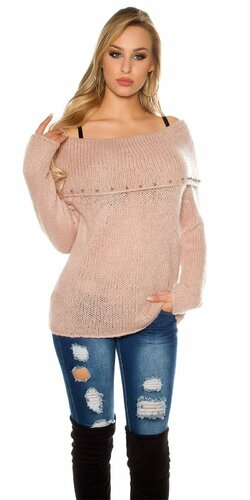 Ležérny sveter s angorskou vlnou | Bledá ružová