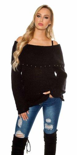 Ležérny sveter s angorskou vlnou | Čierna