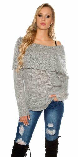 Ležérny sveter s angorskou vlnou | Šedá
