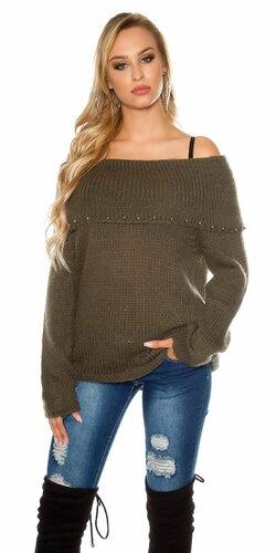 Ležérny sveter s angorskou vlnou | Khaki