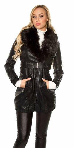 Dámsky kabát koženého vzhľadu Čierna