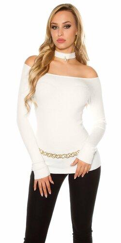 Carmen sveter s dekoratívnou perlou | Krémová