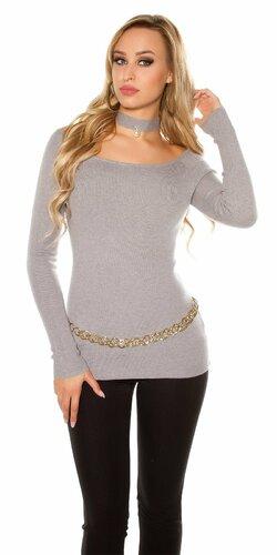 Carmen sveter s dekoratívnou perlou | Šedá
