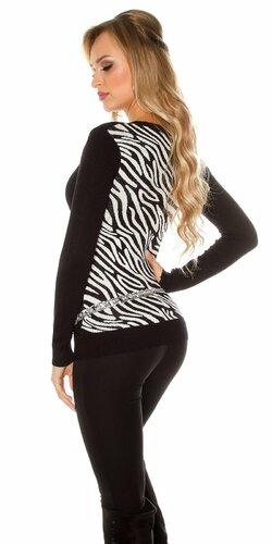 Dámsky sveter so zebrovanými vzormi | Čierna