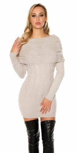 Carmen pletené mini šaty | Šedá bledá