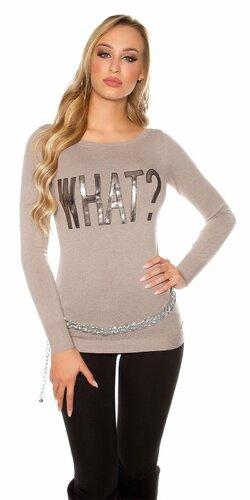 Dámsky sveter s nápisom ,,WHAT?,, | Béžová
