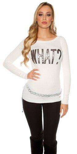 Dámsky sveter s nápisom ,,WHAT?,, | Biela