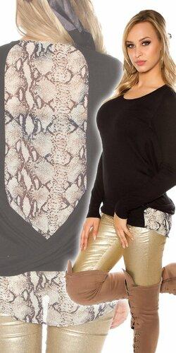 Dámsky sveter s haďou potlačou | Čierna