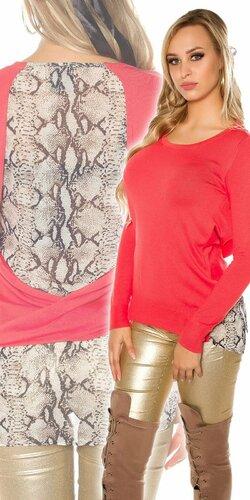 Dámsky sveter s haďou potlačou | Koralová