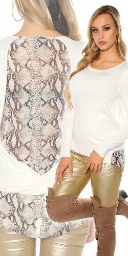 Dámsky sveter s haďou potlačou | Krémová