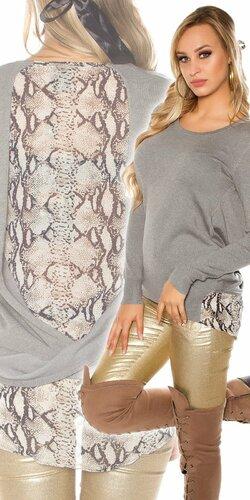 Dámsky sveter s haďou potlačou | Šedá