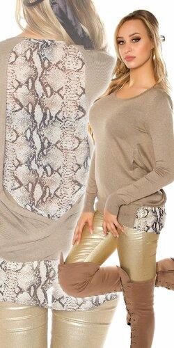 Dámsky sveter s haďou potlačou | Béžová
