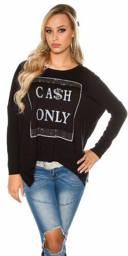 Dámsky sveter ,,CASH ONLY,, | Čierna