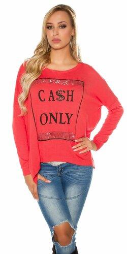 Dámsky sveter ,,CASH ONLY,, | Koralová