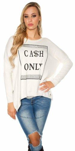Dámsky sveter ,,CASH ONLY,, | Krémová