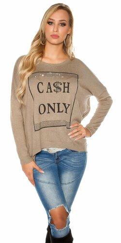 Dámsky sveter ,,CASH ONLY,, | Béžová