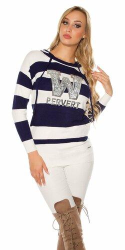 Dlhý pruhovaný sveter ,,PERVERT,, | Modrá