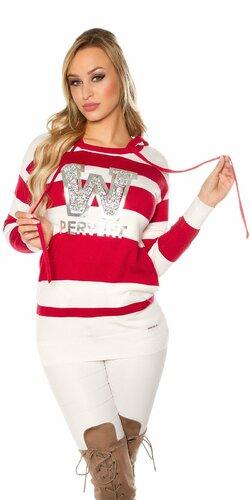 Dlhý pruhovaný sveter ,,PERVERT,, | Červená